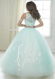 Fiesta Quinceanera 56317 This two piece style has a lace applique bodice and beaded waistband. Sparkle tulle ball gown skirt has a matching beaded waist. Tulle Ball Gown, Ball Gown Dresses, Tulle Lace, 15 Dresses, Beaded Lace, Gown Skirt, Embroidered Lace, Lace Applique, Two Piece Quinceanera Dresses