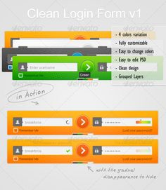 Clean Login Form v1  #GraphicRiver         4 colors variation, Fully customizable, Easy to change colors, Easy to edit PSD , Clean design, Grouped Layers. Arial font.   Icons in the file      Created: 26October12 GraphicsFilesIncluded: PhotoshopPSD HighResolution: No Layered: Yes MinimumAdobeCSVersion: CS Tags: changecolors #clean #colors #customizable #design #easy #edit #fully #grouped #layers #photoshop #psd #variation