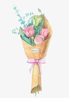 Illustration Noel, Watercolor Illustration, Watercolor Flowers, Watercolor Paintings, Drawing Flowers, Painting Flowers, Diy Bouquet, Bouquet Flowers, Diy Flowers