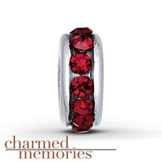 Charmed Memories Dark Red Spacer Charm Sterling Silver  Stock number: 811385602  This sterling silver Charmed Memories® spacer charm features dark red SWAROVSKI ELEMENTS. From the Birthstone Collection, this charm is perfect for a January birthday.     $29.99