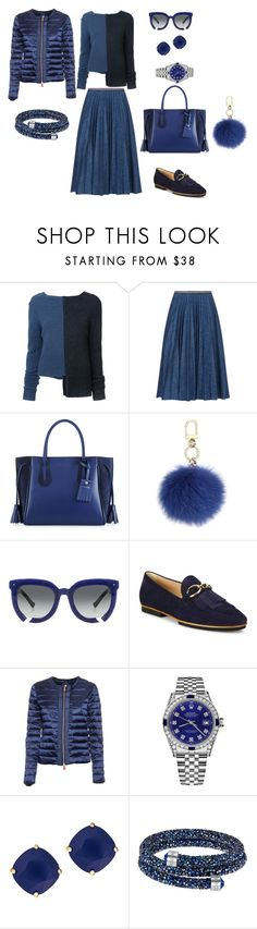 """""""Total Blue"""" by mary-en ❤ liked on Polyvore featuring ADAM, Leur Logette, Longchamp, Tory Burch, Grey Ant, Tod's, Save the Duck, Rolex, Kate Spade and Swarovski"""