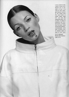 Kate Moss photographed by Mario Testino for Glamour France (October 1992).
