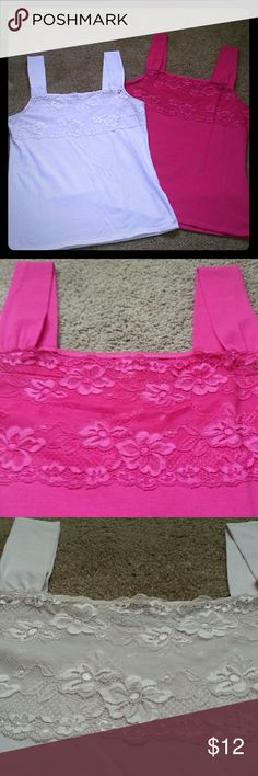 TWO Camisoles! Relativity. Large. Cotton/spandex with  touch of lace. Hot Pink & very Soft Pink. Great Condition. Great under a blaze! Relativity Tops Camisoles