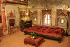 Traditional luxury Indian Bedroom with Instensive red colors Indian Bedroom, Bedroom Red, Master Bedroom, Colorful Bedding, King Sheets, Bed Sheets, Heritage Hotel, Bedding Sets Online, Luxurious Bedrooms