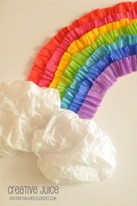 como hacer un arcoiris con papel crepe