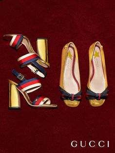 Presenting a new women's shoe collection from Gucci Pre-Fall 2016. Sandals, pumps and flats in red or gold leather featuring the House's distinctive Web stripe.
