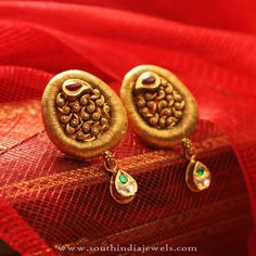 22K Gold Antique Ear Studs, Gold Antique Earrings, Gold Antique Ear Studs Collections.