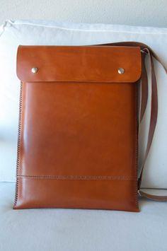 MacBook bag, MacBook leather bag, MacBook Pro 13 case,  MacBook 13 case with pocket - brown leather. $115.00, via Etsy.