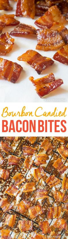 Our Bourbon Candied Bacon Bites Recipe, also known as Pig Candy, makes a unique edible holiday gift, and topper for salads, desserts, and soup! via @spicyperspectiv
