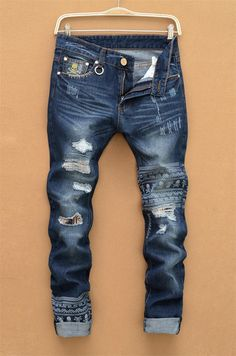 13920947d038f 2016 Hole Jeans For Men Classical Streetstyle Skull Print Designer Stylish  Straight Jeans Pants Wholesale Free