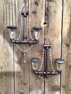 Solar Powered Oil Rubbed Bronze Pipe by SomeAssemblyInspired #lighting #pipes #glasscrystals #chandelier #pendantlighting #outdoorlighting #gardendecor #outdoor #rustic #vintage #handmade #gift