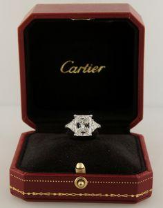 Cartier Diamond Platinum Three-Stone Ring GIA Certificate image 4