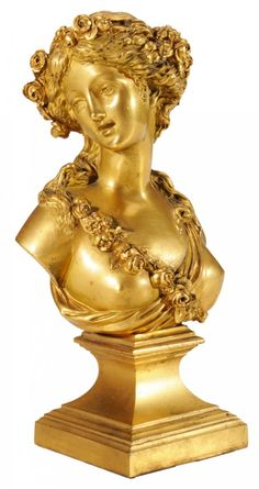 Gilt Cast Bronze Bust of Young Woman  probably French, late 19th/early 20th century, maiden with flowing hair adorned with rose garlands, one breast uncovered with draped floral swag, raised square platform pedestal-form base, unsigned,
