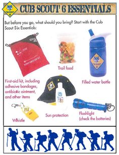 A list of camping essentials by the cub scouts. Shows kids what they need to bring when camping. Cub Scout Law, Cub Scouts Wolf, Tiger Scouts, Scout Mom, Girl Scouts, Scout Camping, Camping Stove, Camping Snacks, Scouting