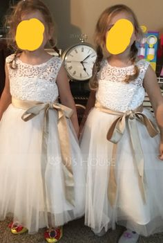 3a4cb943d5e A-Line Princess Knee-length Flower Girl Dress - Tulle Lace Sleeveless Scoop  Neck With Sash Bow(s) Back Hole - JJsHouse