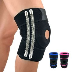 2 Pcs Professional Sport Fitness Powerlifting Knee Protector Adjutable OK Cloth Knee Support Spring Brace for Basketball Running #Affiliate