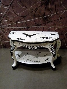 Dollhouse Miniature Bespaq Painted Halloween Table,Bats, by  K Manuel   #Bespaq