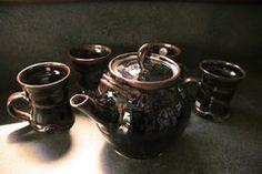 "Van Dop Gallery | Artists | ceramic: ""Temoku Tea Pot and Mugs Set"" by Celia Rice-Jones Mugs Set, Home Decor Items, Garden Art, Tea Pots, Unique Gifts, Arts And Crafts, Rice, Van, Entertaining"