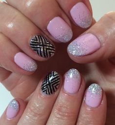Baby Pink Nails with Silver Glitter Ombré Black Nail Art Summer 2014 Design #ByMargarita