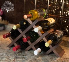 Tabletop Wine Rack - Butterfly Style in Solid Wood with Oil Finish - 8 or 13 Bottles - Walnut, Oak, Cherry, Maple, Mahogany