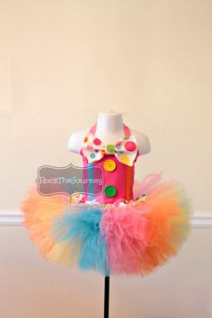 Candy Land Pink Polka Dot Circus Carnival Clown Rainbow BIrthday Party Tutu Outfit - Pageant - Halloween Costume - Baby girl 6mos - 5T on Etsy, $64.00
