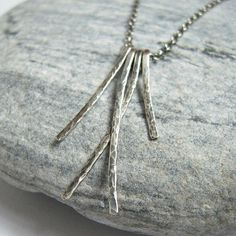 Waterfall Stick Oxidized Sterling Silver Necklace, Hammered Texture