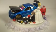 AUTO Mechanic Bride and Groom Nissan Skyline GTR Blue CAR Funny Wedding Cake Topper Groom's Cake – funny wedding pictures Nissan Skyline, Skyline Gtr R34, Funny Wedding Games, Wedding Humor, Car Themed Wedding, Diy Wedding, Wedding Shoes, Cake Wedding, Wedding Venues