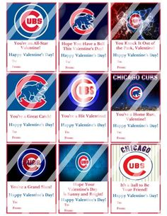Chicago Cubs Printable Digital Personalized Valentines Day Cards #1