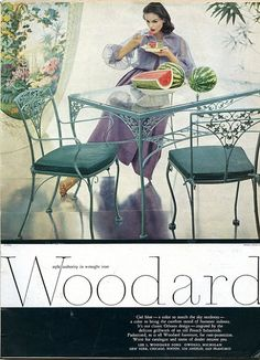 Woodard Furniture is classic, timeless, and durable. Wrought iron made to last through the years becomes vintage heirlooms of tomorrow. As seen on Outdoorlicious.