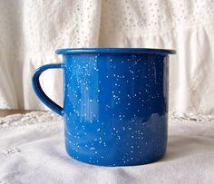 Vintage Enamelware Coffee Cup Blue Speckled Metal by cynthiasattic, $9.00