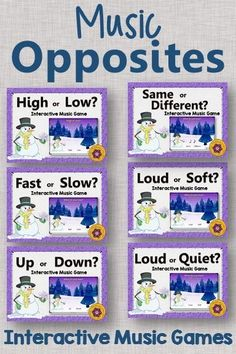 Music Opposites (Comparatives) Games. Your kindergarten and first grade classes will fall in love these interactive games that work with or without a Smartboard. Great activities for winter to add to your lessons and Orff and Kodaly resources.