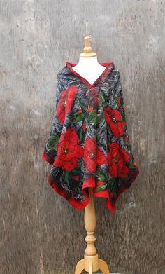Felted scarf,Nuno Felted shawl merino wool alpaca wool silk Red Poppy black red green felted flower  felted art autumn winter wool scarf by AnnaWegg on Etsy