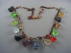 RARE! Antique Gablonz c1890-1930 Molded Glass Assorted Dogs Czech Charm Necklace