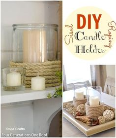 DIY Sisal rope candle holder from Bryant Bryant Dewey Generations One Roof Do It Yourself Inspiration, Diy Inspiration, Rope Crafts, Diy And Crafts, Diy Candles Easy, Diy Candle Holders, Ideias Diy, Diy Projects To Try, Craft Projects