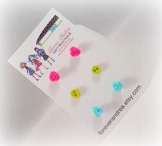 Teeny Tiny Earrings Hot Pink Earrings Chartreuse Earrings Tiffany Blue Earrings Rosette Earrings Tiny Button Earrings Cute Earring Studs by foreverandrea on Etsy