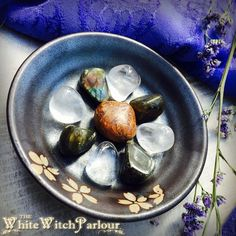 WISDOM Crystal Grid Set  Tumbled Calligraphy by WhiteWitchParlour