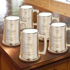Groomsmen Gift set of 5 Personalized Gunmetal Beer Mugs