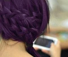 purple hair braid! awesome!  This color is pretty much exactly what i want...