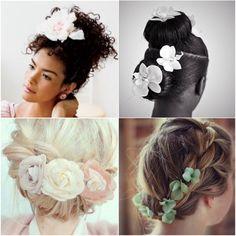 No primeiro post de hoje, eu trouxe inspirações de flores em coques! Elas são usadas normalmente em casamentos ou festa de 15 anos. Ou seja, são penteados elaborados… mas, na minhas opinião, podemos sim fazer um desses para o dia-a-dia (basta querer!).