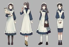 Maid Outfit, Maid Dress, Anime Outfits, Girl Outfits, Cute Outfits, Fashion Design Drawings, Fashion Sketches, Vetements Clothing, Anime Maid