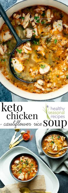 This Keto Chicken Soup is comforting and delicious with cauliflower rice and chicken thighs and is ready in less than 40 minutes. via keto soup keto chicken soup Healthy Meal Prep, Healthy Chicken Recipes, Low Carb Recipes, Healthy Eating, Crockpot Recipes, Clean Eating, Free Recipes, Keto Chicken Thigh Recipes, Healthy Soups