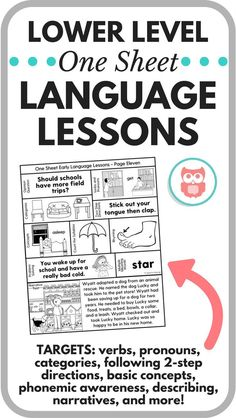 Lower level one sheet language lessons target everything for your lower elementary and preschool speech therapy caseload. Filled with tons of activities, worksheets, and games to target verbs, pronouns, categories, following directions, basic concepts, phonemic awareness, describing, problem solving, narratives, multiple meaning words, and more! A must have therapy tool! From Speechy Musings.