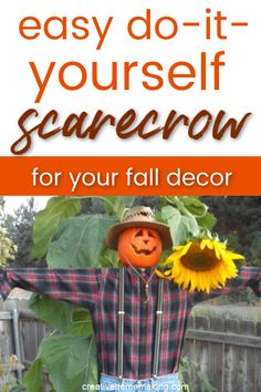 How to make an easy DIY scarecrow decoration to put in your garden or on your front porch for fall. A great DIY scarecrow for kids to help decorate for Halloween. #autumn #fall #scarecrow #fallcrafts #creativehomemaking Easy Fall Crafts, Fall Crafts For Kids, Diy For Kids, Kids Crafts, Diy Home Decor Projects, Fun Projects, Make A Scarecrow, Scarecrow Ideas, Fall Scarecrows