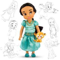 Disegnata dai nostri animatori Disney, questa splendida bambola di Jasmine della collezione Animator Dolls raffigura la principessa di Aladdin da bimba. È in compagnia del suo tigrotto Raja e indossa un top e una gonna in raso con dettagli in filo metallico.