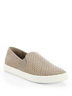 "Vince Preston Woven Leather Slip-On Sneakers USD$295.00 -Quantity 1 + ADD TO BAG FREE 2-Day Shipping & Free Returns Sign Out Find In Store Zip Code Details Comfortable slip-on pair in beautifully woven leather with stretchy sides and fine grosgrain trim. Rubber platform, 190;"" (20mm) Woven leather upper with grosgrain trim and elastic sides Leather lining Rubber sole Padded insole Imported  Please note: Shoes run large. It is recommended that you order one-half size smaller than measured."