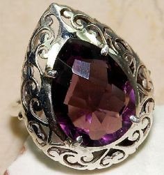$40 Free ship & 1 Photon gifted~ Pear shaped  6CT Amethyst 925 Solid Sterling Silver Ring Sz 7.5