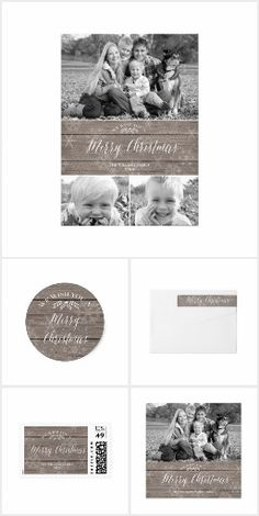 Rustic Christmas Collection | Snowflake design on wood, neutral color | Holiday photo card, sticker, postage stamp, return address label