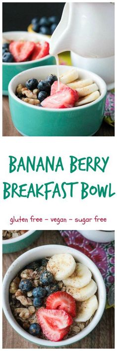 Banana Berry Breakfast Bowl - if you don't have time to make oatmeal, this raw oats and berry breakfast bowl is perfect! All of the fiber and nutrients of oatmeal, but no cooking required. A filling breakfast in less than 3 minutes!! Can't beat that!