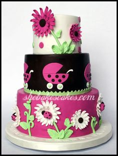 flower ladybug baby shower cake ~ so cute!