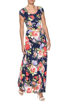 "Open back maxi dress with a floral pattern v-neckline and short sleeves.  Approx. Measures: 59"" long from shoulder to bottom hem.    Open Back Maxi by Her She. Clothing - Dresses - Short Sleeve Clothing - Dresses - Maxi Clothing - Dresses - Floral Clothing - Dresses - Casual Oklahoma"